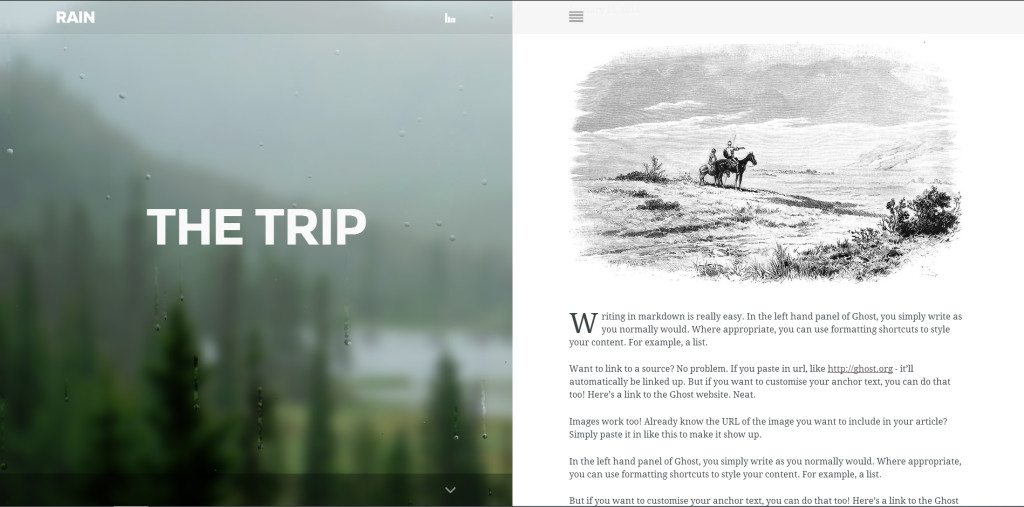 Rain WordPress theme for writers