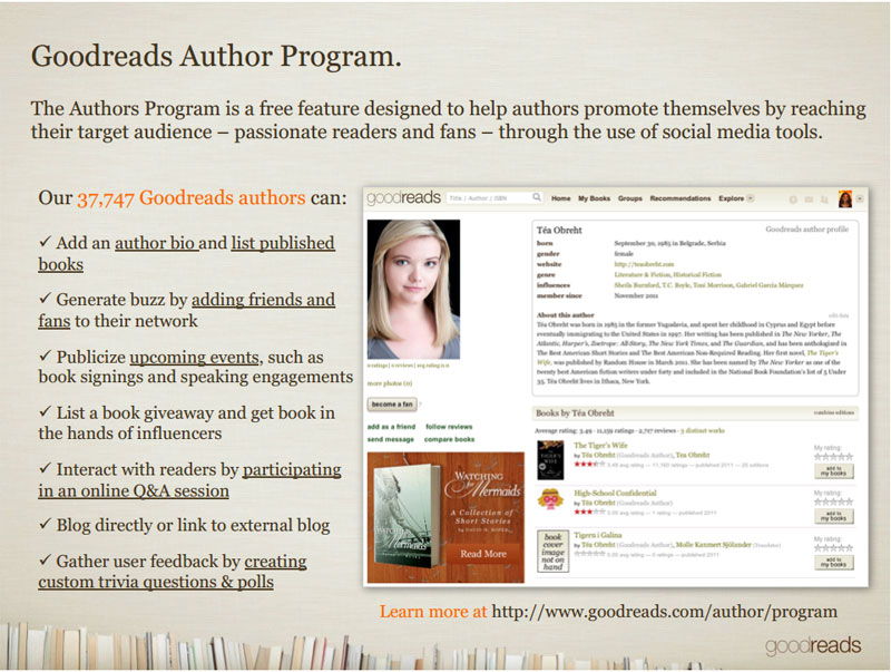 sign up for the goodreads author program