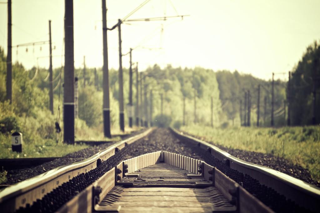 train track into the horizon