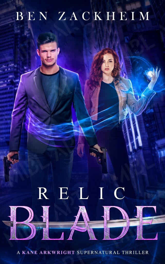 Relic: Blade book cover with Kane holding two handguns and Rebel casting a spell that wraps around him like an embrace.